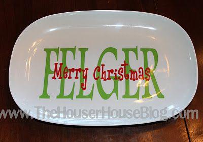 vinyl: Silhouette Projects, Vinyls Tutorials, Gifts Ideas, Diy Silhouette, Houser House, Vinyl Figure, Silhouette Ideas, Christmas Plates, Silhouette Cameo