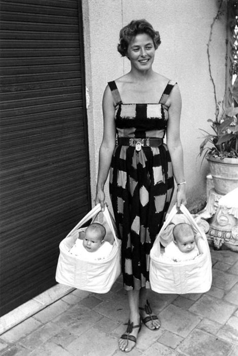Ingrid Bergman with her twin daughters Isabella and Isotta Rossellini, 1952.    I'll take whole get up, please and thanks. (And need I even point it out - the lock on her belt!)