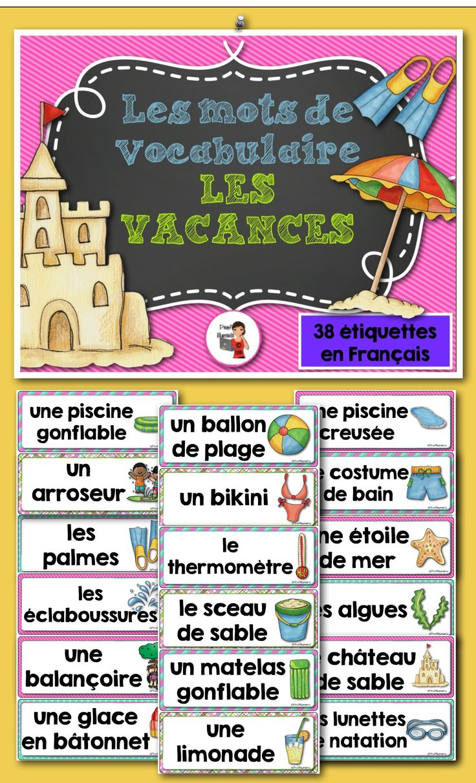 Les 38 affiches sont colorées et très variées, voici quelques exemples des mots sur les affiches :  - les sandales - la crème solaire - le chapeau de paille - la balançoire - le maillot de bain - la piscine creusée - Etc.