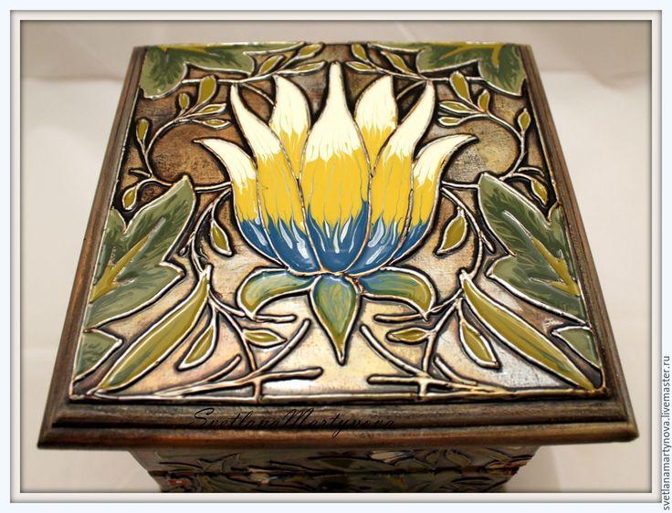 """Купить Мини-комодик """"Модерн"""" - лаковая роспись, перегородчатая эмаль, имитация эмали, для драгоценностей, для украшений"""