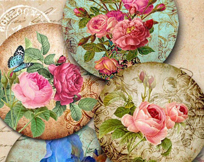 Ideal  druckbare Kreis Bilder viktorianischen Garten digitale Collage Blatt f r Pocket Spiegel Magnete Papiergewichte