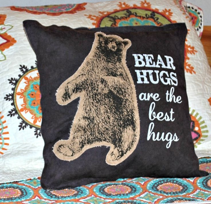"Bear Hugs are the Best Hugs! This super cute 15"" square pillow says it best. With its rustic design,this pillow is perfect for the cabin, kids room or anywhere!"