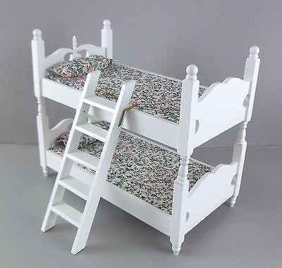 #Dolls house #miniature 1:12 #bedroom furniture white wooden bunk beds bunkbeds,  View more on the LINK: http://www.zeppy.io/product/gb/2/371159399284/