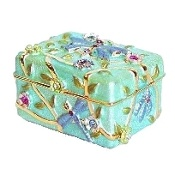 "Aqua Blue Dragonfly Chest Box Swarovski Crystals Keepsake or Pill box set with sparkling Swarovski Crystals. hand enameled by skilled artisans.  Save 10% on your order! Use code ""pinterest"" FREE STANDARD SHIPPING ON ALL ORDERS!"