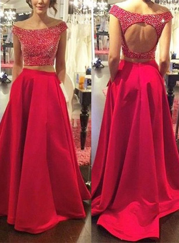 >> Click to Buy << Modern Red Two Piece  Prom Dress Off-the-shoulder Zipperl vestido de baile longo galajurken balo elbisesi #Affiliate