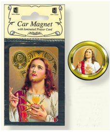 Sacred Heart of Jesus Car Magnet & Prayer Card.
