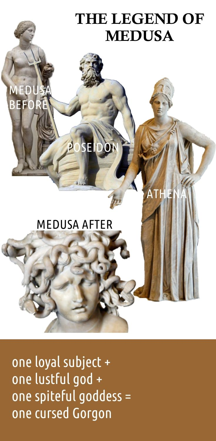 The legend of Medusa.  Greek mythology funny.  Well, maybe not funny, but funny that I found the perfect statue of Athena.