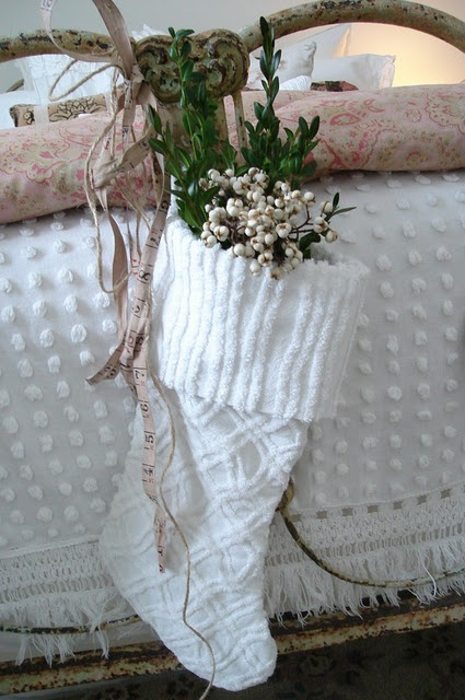 Cute stocking made out of an old chenille bedspread