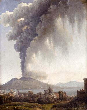 Bay Of Naples With Vesuvius Erupting Beyond  Alexandre-Hyacinthe Dunouy