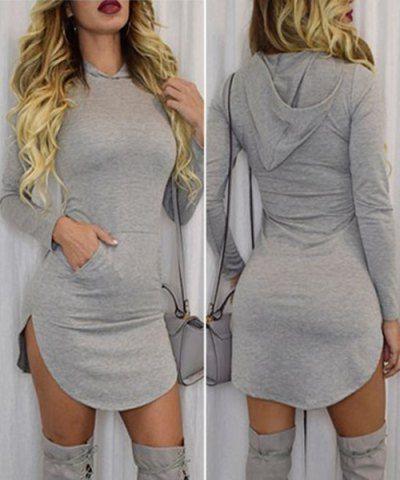 Stylish Hooded Long Sleeve Solid Color Pocket Design Dress For Women