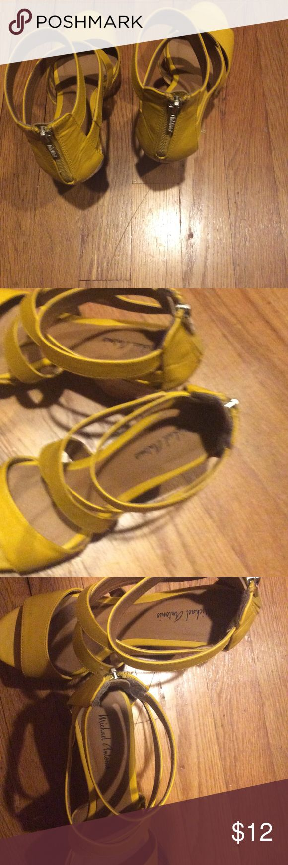 Yellow sandals Nice crossed open front back shoes groupon Shoes Platforms