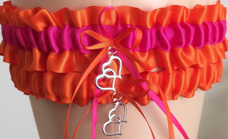 Orange and Fuchsia Pink Wedding Garter Set, Prom Garter Set