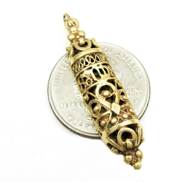 14K Yellow Gold Fancy Mezuzah Pendant