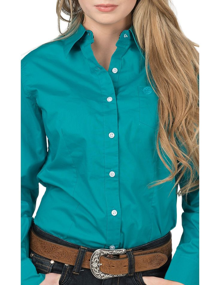 George Strait by Wrangler Women's Solid Turquoise Long Sleeve Western Shirt | Cavender's