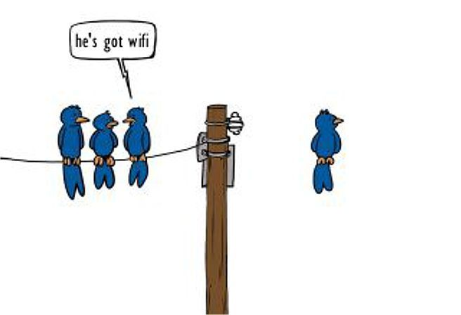 """""""He's got wifi"""" - sorry, i looked all around for the original image, if anyone finds it - please comment."""