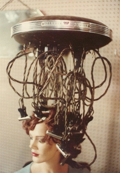 Vintage electric perm machine - When I was in beauty school, they had one of these on display. Scary - very scary!!! SHopkins
