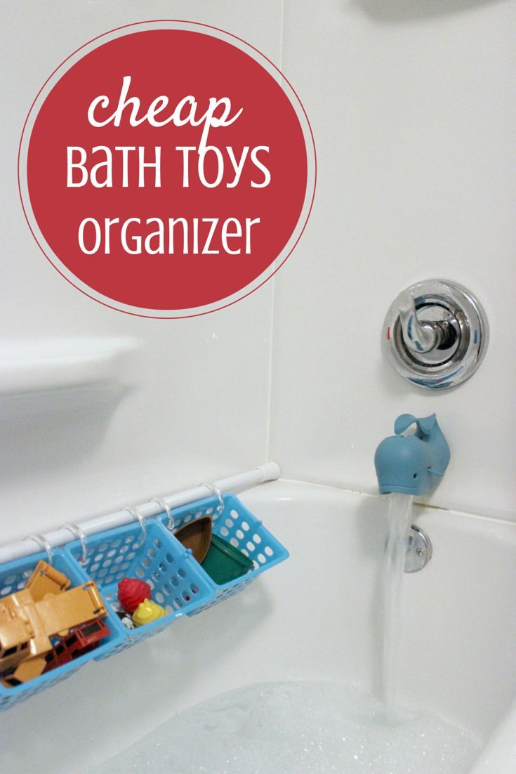 Are you looking for a way to organize all those bath toys?  Well, look no further!  All you need is a shower curtain rod, a few plastic bins and shower rings.  Within five minutes you have the best way to organize the bath toys so that your kids can find what they want to play with - and clean it up when they're done.