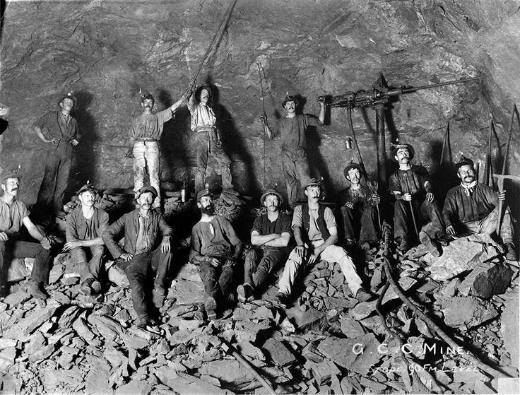 Circa 1898, Miners with oil lamps and an air powered drill, resting on broken ore 165 metres underground at the Great Cobar Copper Mine, NSW. #ThrowbackThursday http://www.trade.nsw.gov.au/legal/copyright #drill, #geology, #historic, #mineral, #mine, #underground