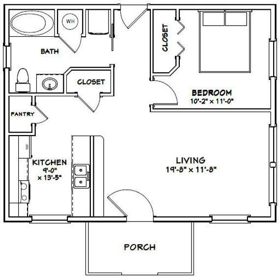 30x24 House 1 Bedroom 1 Bath 720 Sq Ft Pdf Floor Plan Etsy In 2020 Tiny House Floor Plans Tiny House Plans Small House Plans