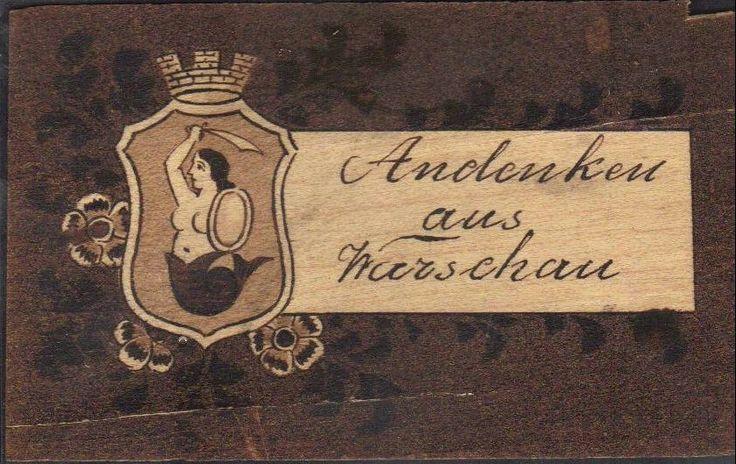 Andenken aus Warschau - alte Postkarte, stara drewniana pocztówka z Warszawy, vintage Warsaw wooden postcard