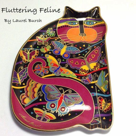 Vintage Laurel Burch Fluttering Feline Fine by PaintedInclinations