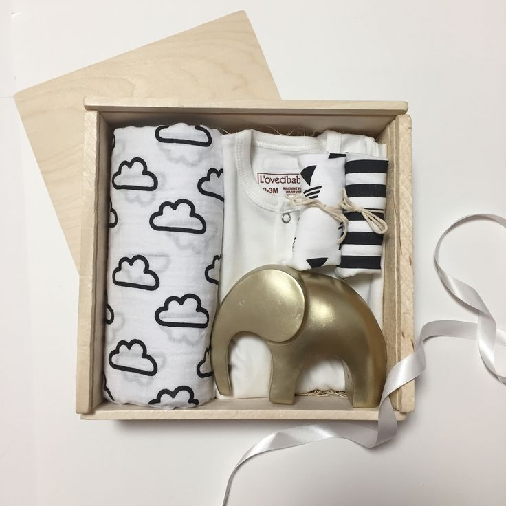 Baby welcome box, black and white baby products, monochromatic baby, baby hamper, custom baby gift, gold nursery decor, swaddle, bib, baby stretchie, barbona gifts