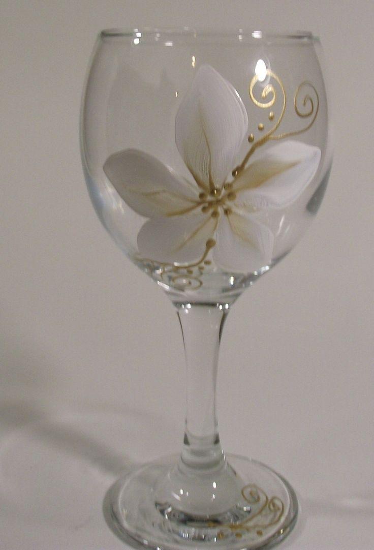 Christmas Gold and White Poinsettia, Elegant Hand Painted Glassware. $8.50, via Etsy.