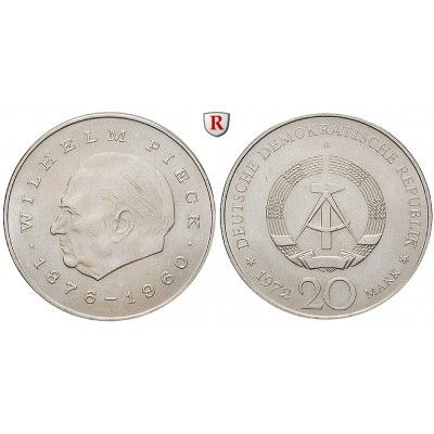 DDR, 20 Mark 1972, Pieck, vz, J. 1541: Kupfer-Nickel-20 Mark 1972. Pieck. J. 1541; vorzüglich 3,50 € #coins #numismatics