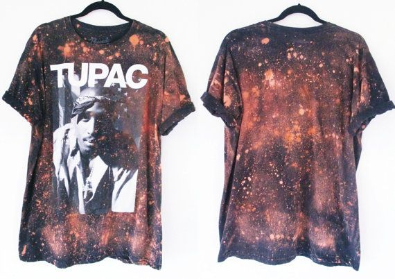 2 pac starry sky Bleached Band Tee S/2XL  by RockncomicsLA on Etsy