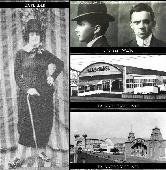 The notorious 1920s gangster Squizzy Taylor met his beautiful accomplice and wife, Ida Pender, at the Palais de Danse. Originally it would have been the dance hall located on the current Palais Theatre site and then in 1925 the new Palais de Danse next door. One of Melbourne's best known highsteppers and jazzers, Squizzy was frequently seen in smart suits at the dance hall. Ida Pender was known as 'Jazz Baby', because of her obsession with dancing at the Palais de Danse.