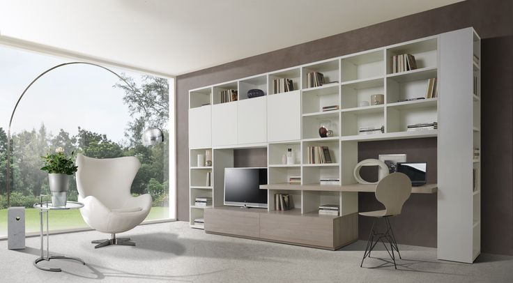 The Giornopergiorno bookcases propose themselves as essential elements in the home environment, presenting themselves in a precise, but at the same time, simple style, maximizing the volumes of elements for a meticulous and functional organization of spaces. http://www.giessegi.it/it/collezioni/soggiorni/?utm_source=pinterest.com&utm_medium=post&utm_content=&utm_campaign=post-soggiorni