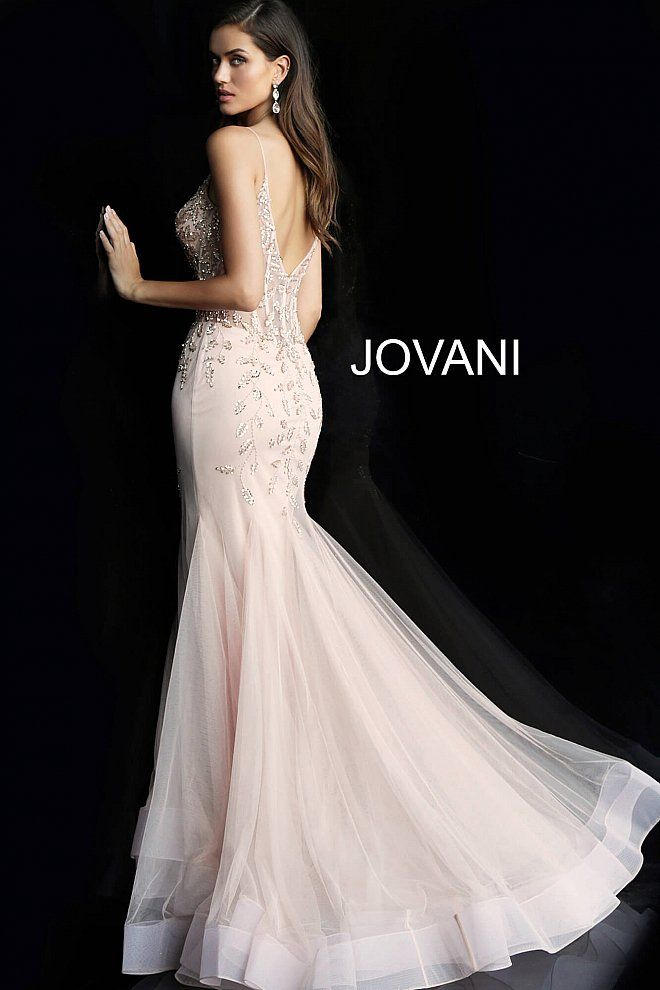 81d99dc9cf90 Blush Spaghetti Straps Embellished Prom Dress 63704 in 2019 | Jovani