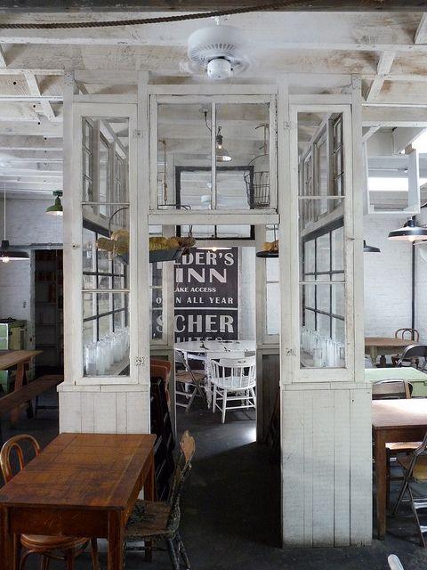 Make an interior room with window walls /  Saraghina Cafe, Brooklyn NY - Love this idea!
