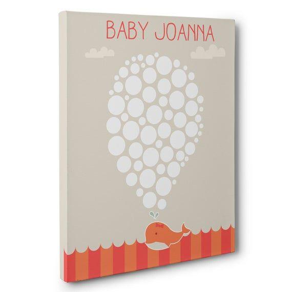 Whale Girl Baby Shower Guestbook Alternative Art