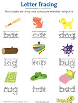 kids practice spelling three letter words by tracing the letters in this