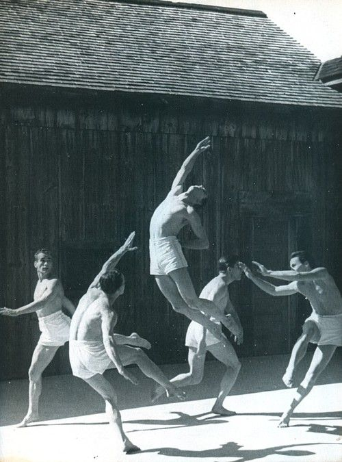Ted Shawn and His Men Dancers performing Olympiad at Jacob's Pillow near Lee, Massachusetts, summer 1932
