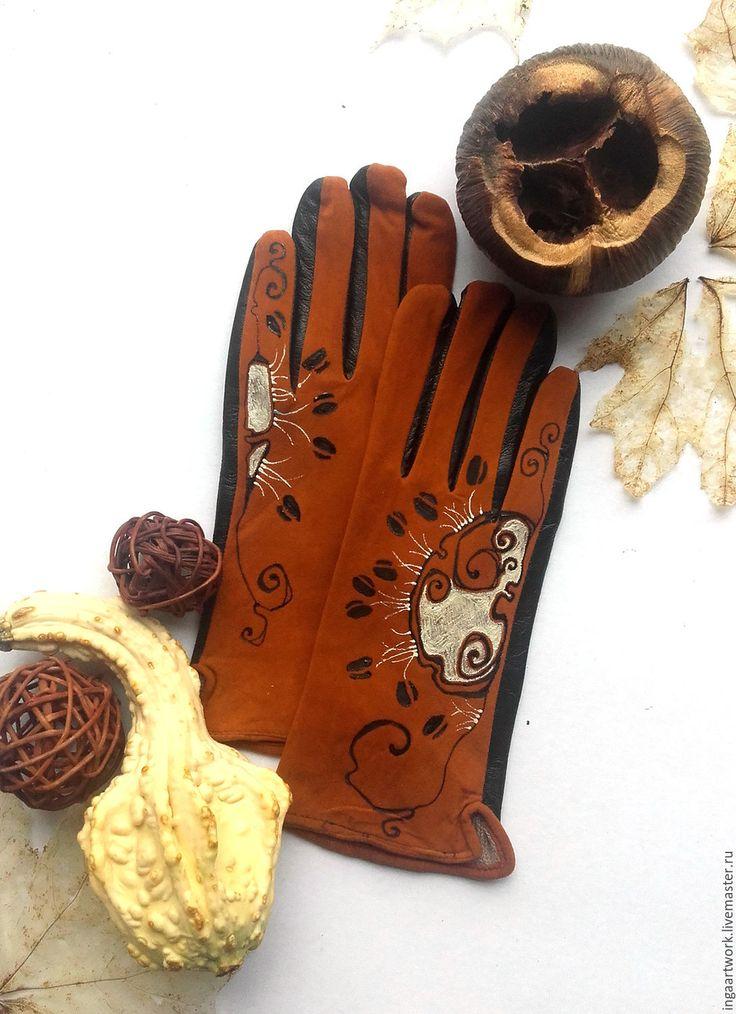 Купить Коричневые кожаные перчатки. Ручная роспись. Размер 8 - ручная роспись, аксессуар