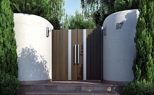 Αυλόπορτες. Blind V. Μοντέρνα σχέδια και αμέτρητοι συνδυασμοί καλύπτουν τις απαιτήσεις των σύγχρονων αρχιτεκτονικά κτιρίων. Gates. Blind V. Modern designs and countless combinations meeting the needs of modern architectural buildings.