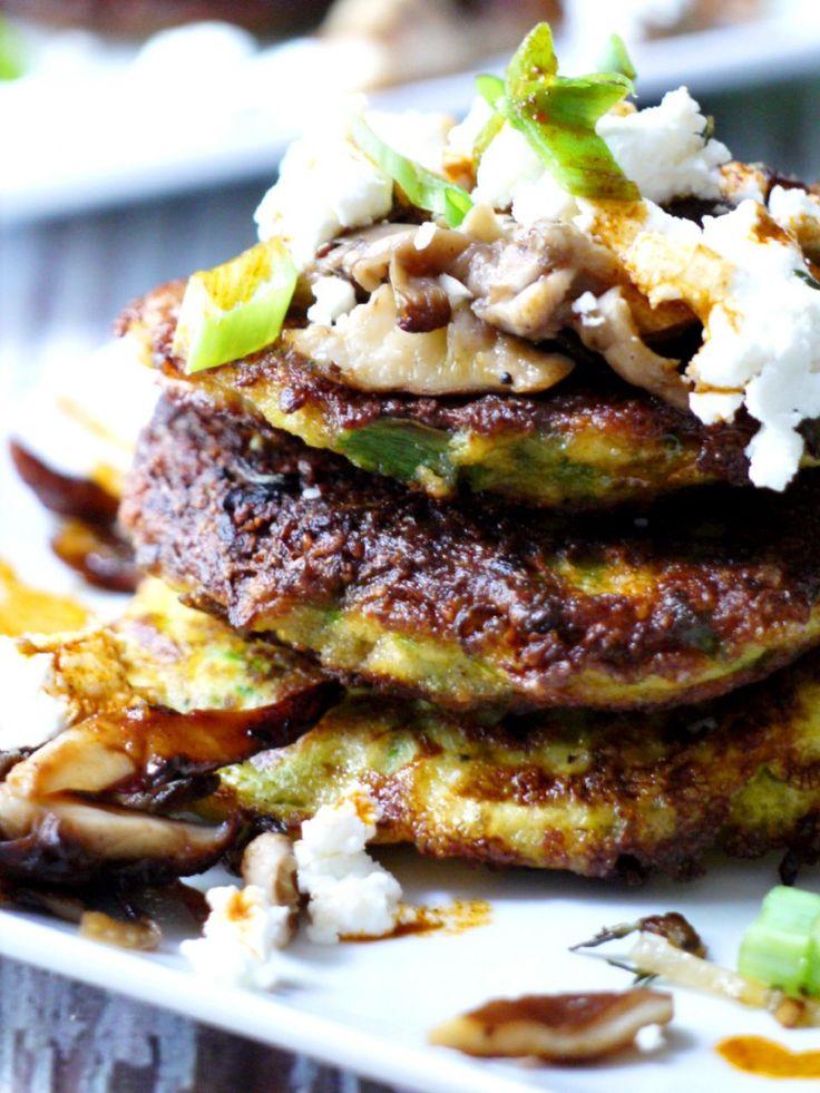Zucchini Pancakes with Wild Mushrooms, Crumbled Goat Cheese & Garlic Chili Oil - Healthy Recipe Ecstasy (HRx)