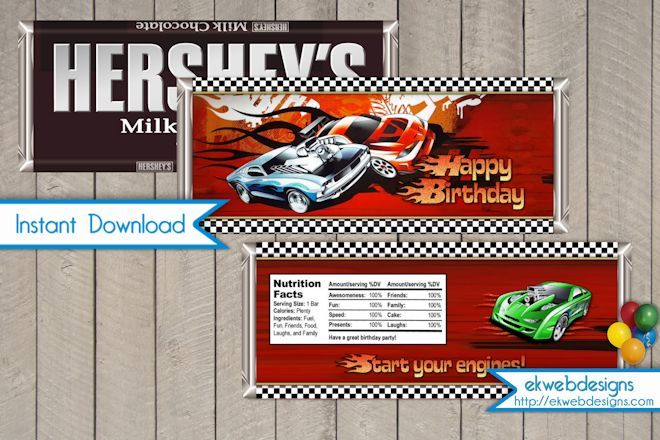 Hot Wheels Candy Bar Wrapper - Instant Download