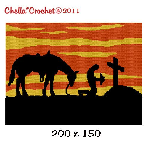 Chella Crochet Cowboy Praying at Cross with Horse at SUNSET Silhouette Afghan Crochet Pattern. $3.80, via Etsy.