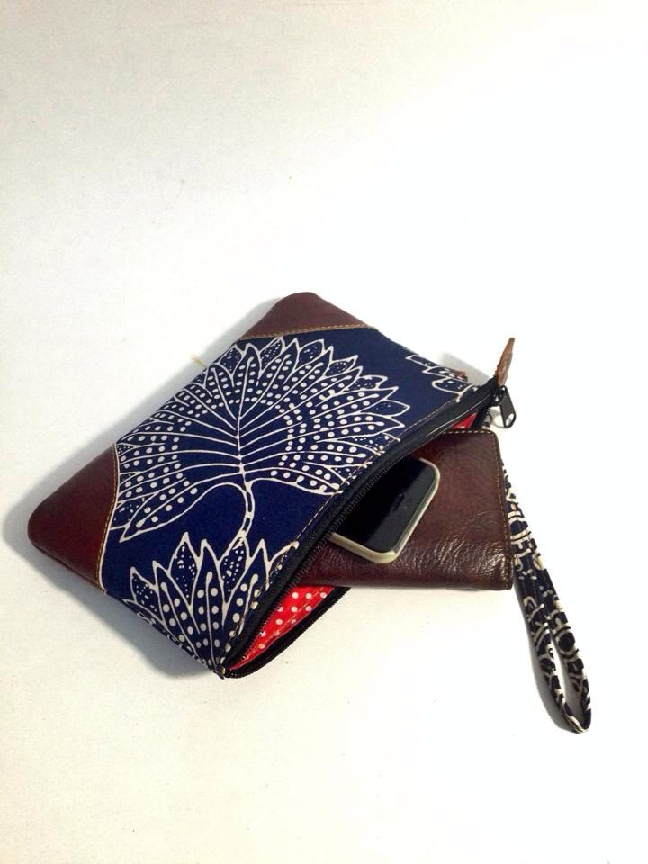 Batik and leather pouch