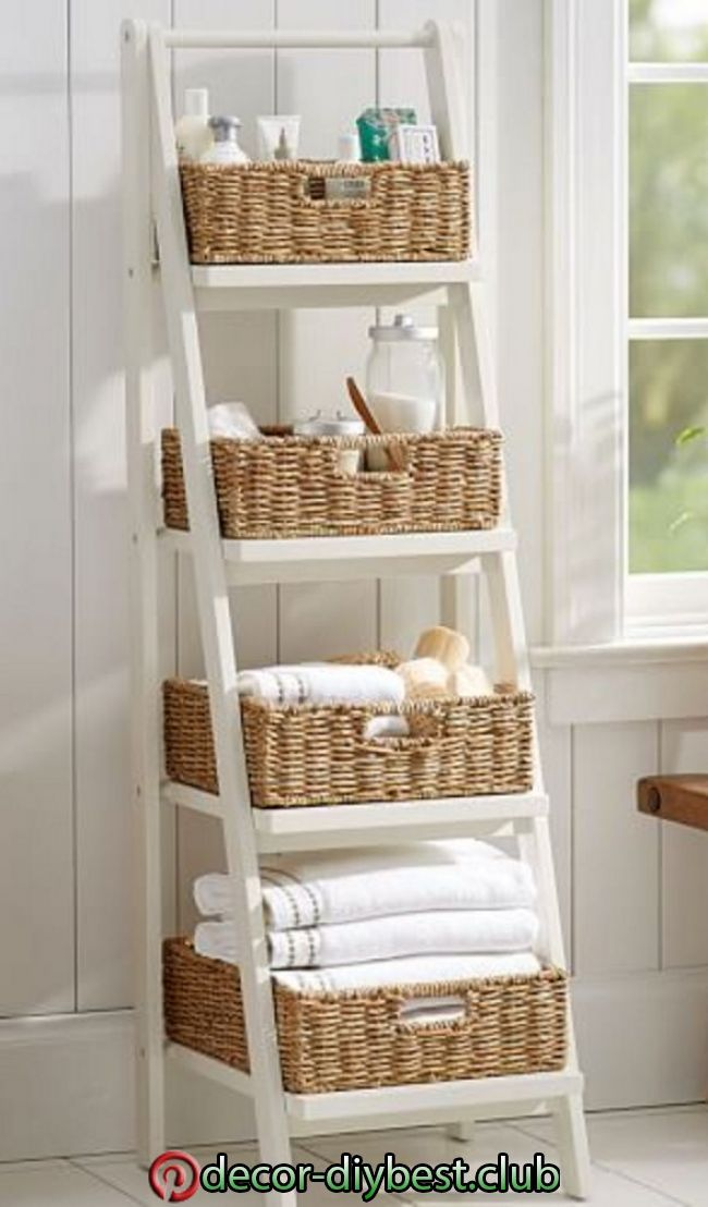 Leiterbodenlager Mit Korben Small Bathroom Storage Ladder Storage Diy Home Decor Leit In 2020 Diy Bathroom