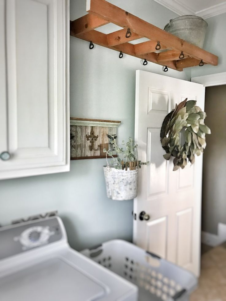 Bless This Nest –Laundry Room makeover. Ladder Clothes drying rack