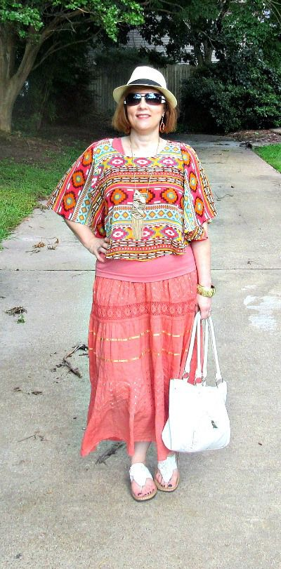 Orange Crush- Aztec Boho Style.... Over 40 fashion blogger...