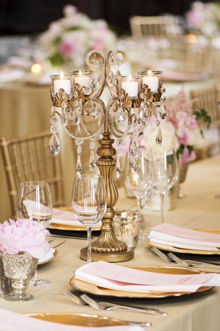Such an elegant candelabra centerpiece wedding gold