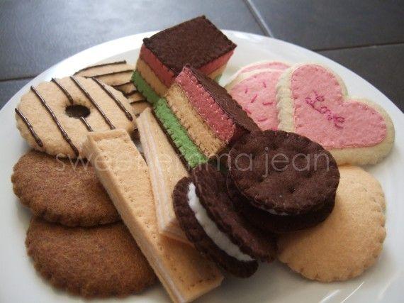 Fieltro Patrón de Alimentos Costura - Cookies Surtido PDF - DIY Felt Play Food