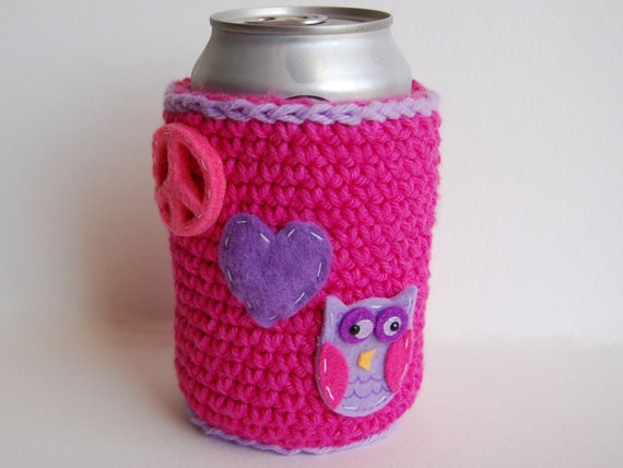 Peace Love and Owls Can Cozy in Bright Pink and by stayhomecupcake, $10.00