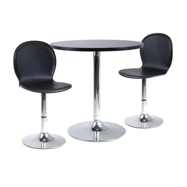 "Winsome Wood 93320 Spectrum 3pc Dinning Table Set, 29"" Round and 2 Swivel Faux Leather Chairs"