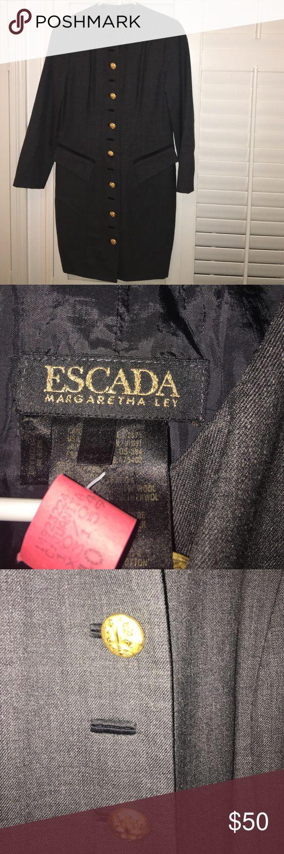 Escada dress Gray and black with gold buttons. Falls right above knee. In great condition. Size 36. Fits like a medium Escada Dresses